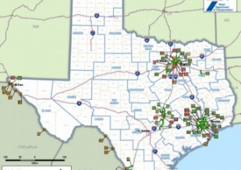 Image of a map of Texas toll roads and bridges